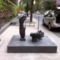 Chimp. Hands, Bronze, Blue Stone, 1.5m x2m x1m